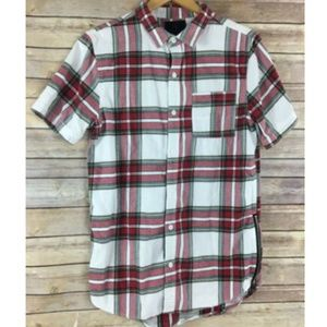 On the Byas Shirt Mens Plaid Side Zips Button Down